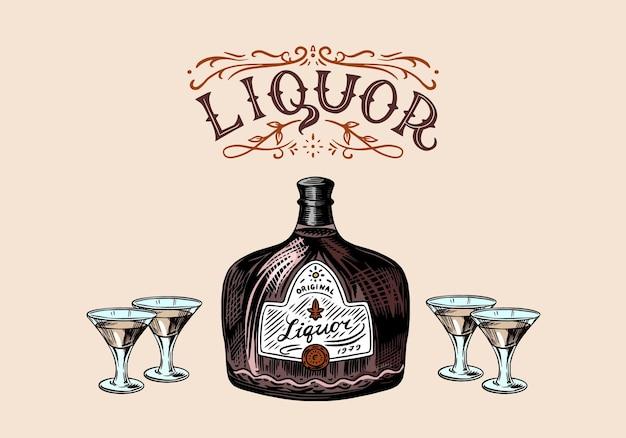 Garrafa de vidro de licor. mão com um tiro. brinde brinde. bebida forte.