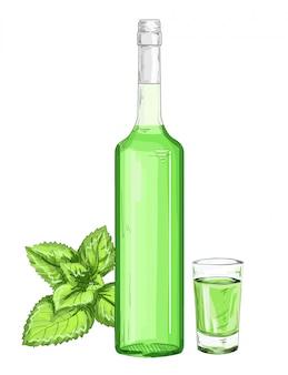 Garrafa de vidro e tiro com ilustração de licor de hortelã. xarope de hortelã em um fundo branco. frasco de vidro e copo com absinto verde