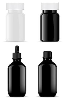 Garrafa de vidro. óleo essencial cosmético. pote de comprimidos