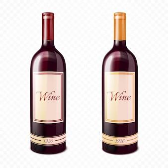 Garrafa de vinho colorida realista