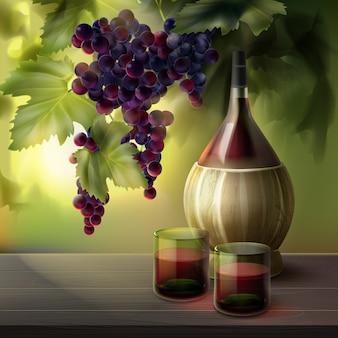 Garrafa de vinho com copos cheios e cacho de uvas vermelhas em folhas isoladas no fundo