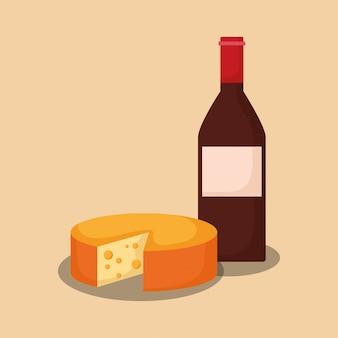 Garrafa de vinho com queijo