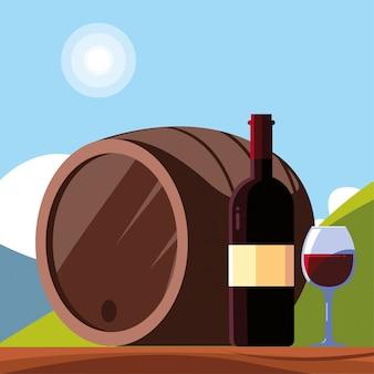 Garrafa de vinho com um copo de vinho, dia nacional do vinho