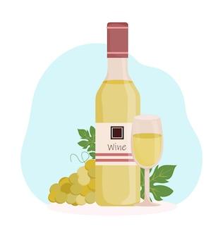 Garrafa de vinho com vidro e uvas.