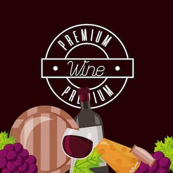 Garrafa de vinho copo barril queijo crokscrew uvas