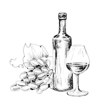 Garrafa de vinho, copo e uvas
