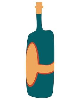 Garrafa de vinho dos desenhos animados. conceito de amantes do vinho. ideia de cartaz, design de impressão de camisa ou decoração de menu. mão-extraídas ilustração vetorial na moda.