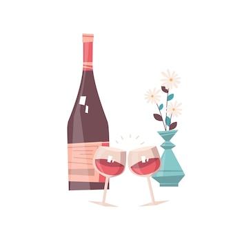 Garrafa de vinho e copos com flores conceito de celebração do dia dos namorados cartão banner convite cartaz ilustração