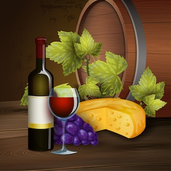 Garrafa de vinho e fundo de barril de carvalho