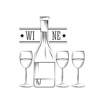 Garrafa de vinho e taças de vinho