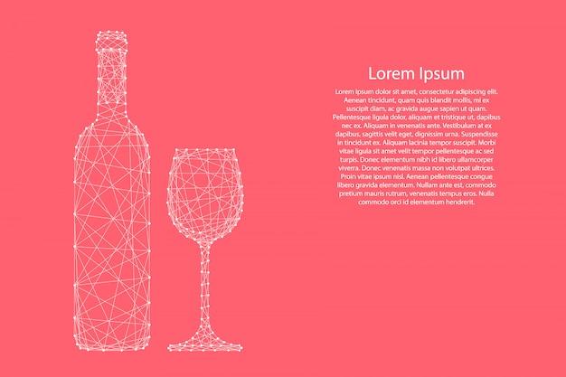 Garrafa de vinho e vidro de modelo futurista abstrato de linhas e pontos poligonais rosa