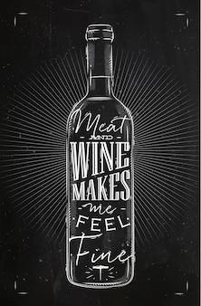 Garrafa de vinho em cartaz com letras de carne e vinho me faz sentir bem, desenhando no estilo vintage com giz no quadro-negro