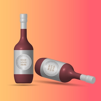 Garrafa de vinho modelo isométrico realista mcokup