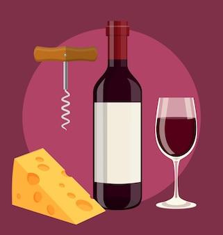 Garrafa de vinho, taça de queijo e saca-rolhas