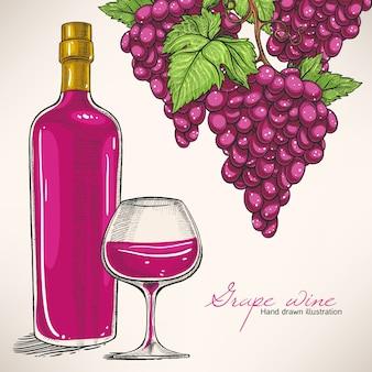 Garrafa de vinho tinto e cachos de uvas