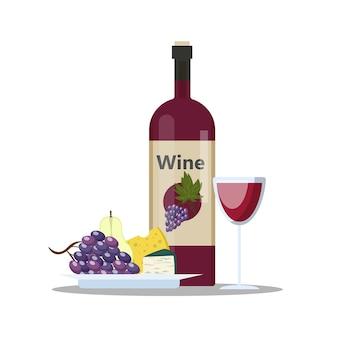Garrafa de vinho tinto e copo cheio de bebida alcoólica. queijo e uva. ilustração