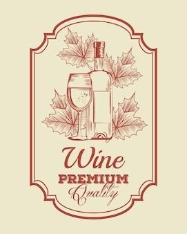 Garrafa de vinho tinto e rótulo de copo