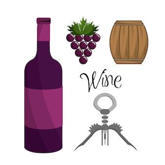 Garrafa de vinho, uva, barril e tirar cortiça