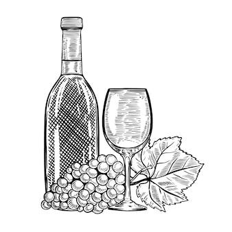 Garrafa de vinho vintage com uvas e copo de vinho. elementos para menu, cartaz, cartão. ilustração