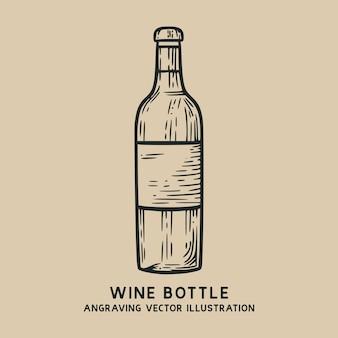 Garrafa de vinho vintage mão desenhada gravura ilustração