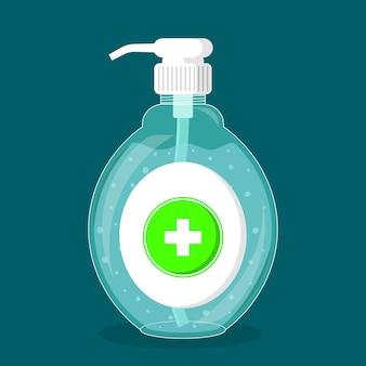 Garrafa desinfetante para as mãos com bomba