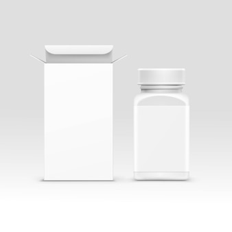 Garrafa e caixa de embalagem médica