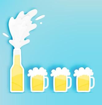 Garrafa e copo de cerveja com bolha em ilustração vetorial de estilo de corte de papel