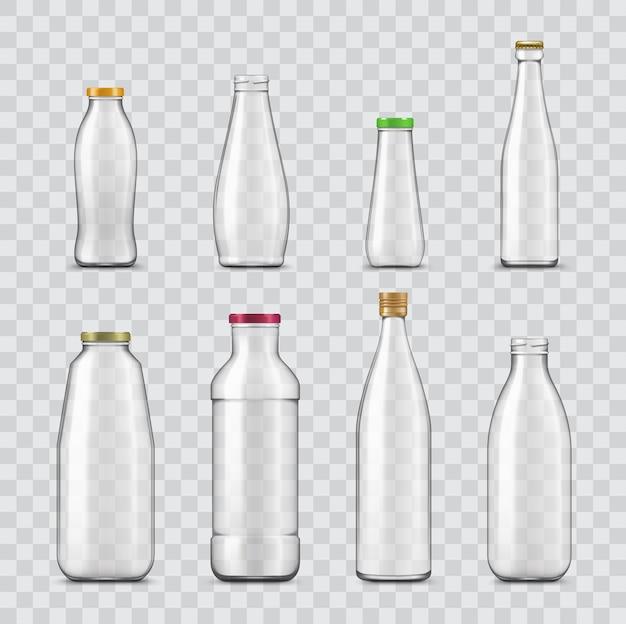 Garrafa e frasco realistas de recipientes de vidro isolados em fundo transparente.