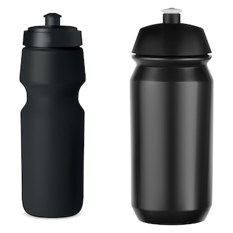 Garrafa esportiva de plástico preto whater