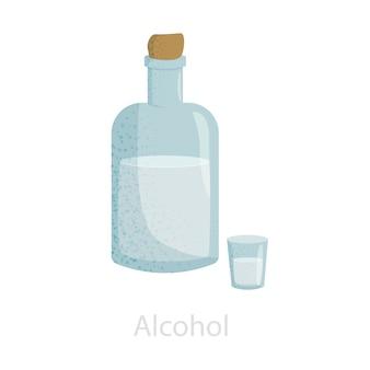 Garrafa fechada com uma rolha com álcool e uma pilha.