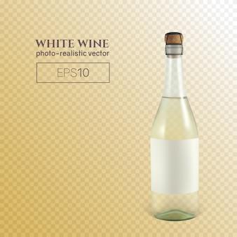 Garrafa fotorrealista de vinho espumante branco na transparente.