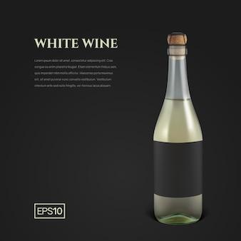 Garrafa fotorrealista de vinho espumante branco no preto