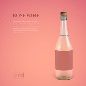 Garrafa fotorrealista de vinho espumante rosa em rosa