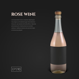 Garrafa fotorrealista de vinho espumante rosa no preto