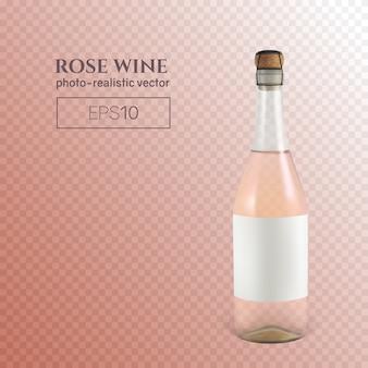 Garrafa fotorrealista de vinho espumante rosa transparente.