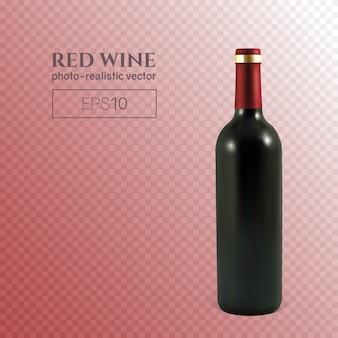 Garrafa fotorrealista de vinho tinto na transparente
