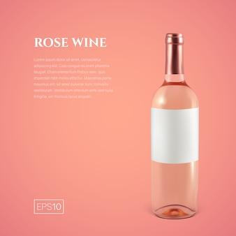 Garrafa fotorrealística de vinho rosé em um fundo rosa