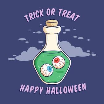 Garrafa mágica de halloween fofa ou design plano de frasco melhor uso para convite de banner da web de pôster