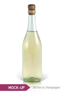 Garrafa realista de champanhe em um fundo branco com reflexão e sombra. modelo de etiqueta.