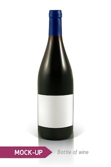 Garrafa realista de vinho branco em um fundo branco com reflexão e sombra. modelo para rótulo de vinho.