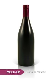 Garrafa realista de vinho tinto em um fundo branco com reflexão e sombra. modelo para rótulo de vinho.