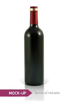 Garrafa realista de vinho tinto em um fundo branco com reflexo e sombra