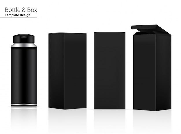 Garrafa realista em branco realista cosméticos e caixa 3d para embalagem de anti-rugas de clareamento da pele e envelhecimento.