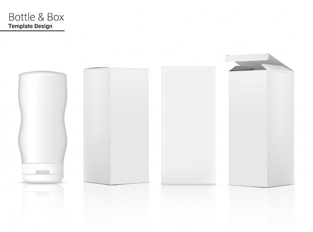 Garrafa realista em branco realista de cosméticos e caixa 3d para clareamento da pele e envelhecimento anti-rugas