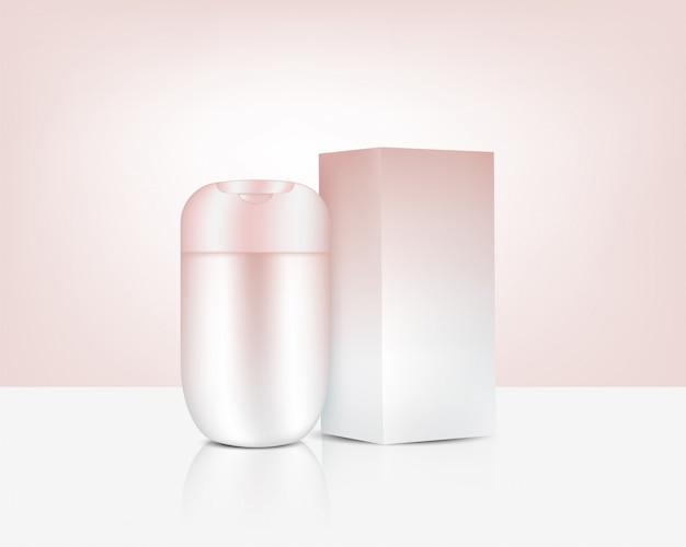 Garrafa realista rose gold beauty cosmetic e caixa para a ilustração do fundo do produto de skincare. cuidados de saúde e design de conceito médico.