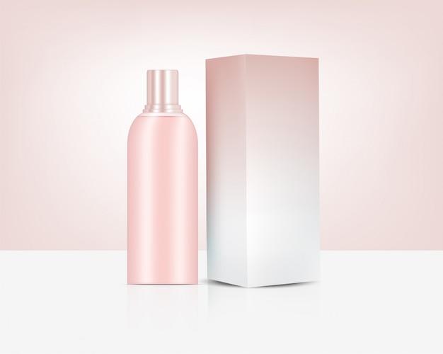 Garrafa realista rose gold perfume cosmetic e caixa para a ilustração do fundo do produto de skincare. cuidados de saúde e design de conceito médico.