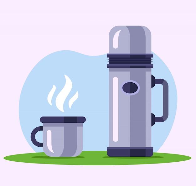 Garrafa térmica de ferro com uma caneca de chá na natureza. ilustração