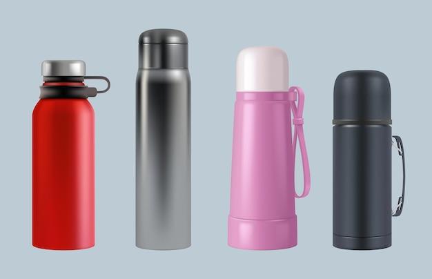 Garrafa térmica realista. recipientes redondos da caneca de café de balão de vácuo de aço para modelos de vetor de água e líquidos. thermos vácuo realista, ilustração de modelo de recipiente térmico