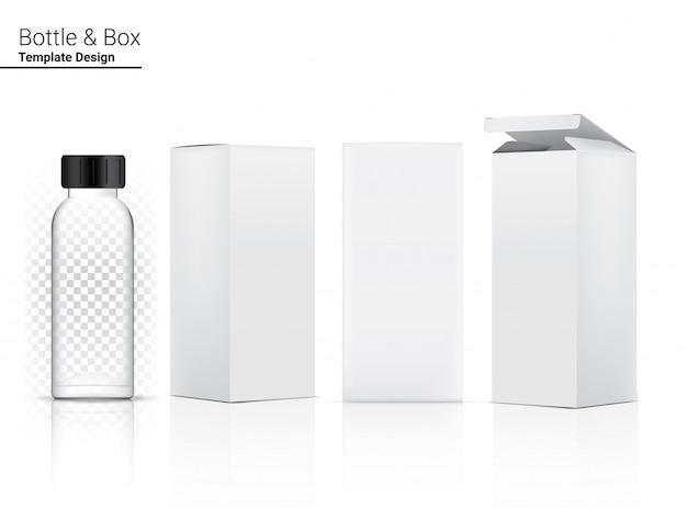 Garrafa transparente brilhante em branco realista cosméticos e caixa 3d para clareamento da pele e envelhecimento anti-rugas