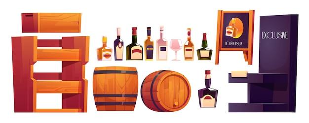 Garrafas com álcool, prateleiras de madeira e barril